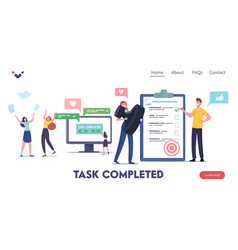 Task completed landing page template happy vector