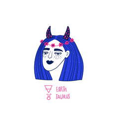 Taurus zodiac sign with funky girl vector