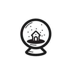 Thin line snowball icon vector