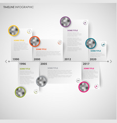 Time line info graphic with note papers and vector