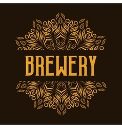 Traditional brewery logo with mandala vector