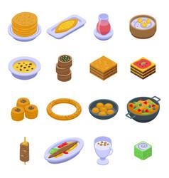 Turkish food icons set isometric style vector
