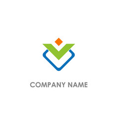 v initial business colored logo vector image