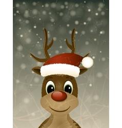 Vintage christmas greeting card with reindeer vector image