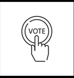 vote line icon hand press button vector image
