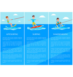 Wakeboarding and kitesurfing surfing sport banner vector