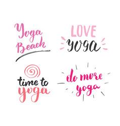 Yoga hand drawn labels set calligraphic vector