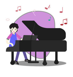 young boy playing pianohappy love music vector image