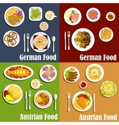 Austrian and german cuisine dishes vector image vector image