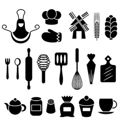 Baking kitchen tools silhouettes set vector image