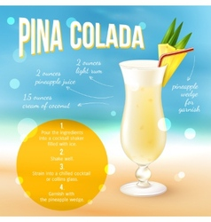 Cocktail Recipe Poster vector image vector image