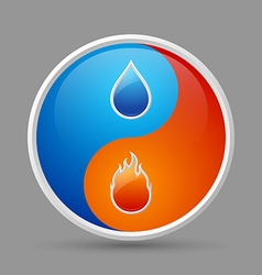 Fire and water icon vector image vector image