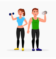fitness couple isolated on white background man vector image
