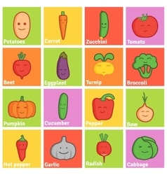 Set of funny character vegetables flat icons vector image