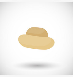 straw hat flat icon vector image vector image