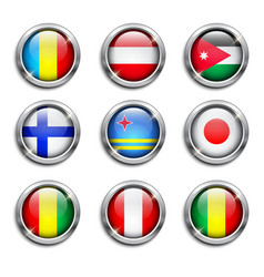 World flags round buttons vector image