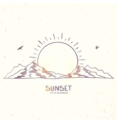 mountain sunset doodle vector image vector image