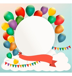 Retro birthday background with colorful balloons vector image vector image