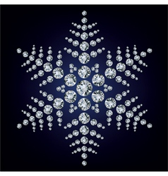 snowflake made from diamonds vector image vector image