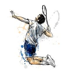 Colored hand sketch badminton player vector image