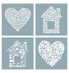 House and heart vector
