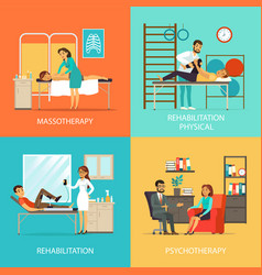 people rehabilitation square concept vector image vector image