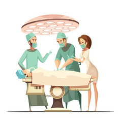 surgery in cartoon retro style vector image vector image