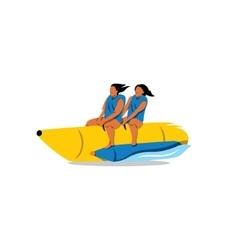 Tourists ride a Banana Boat sign vector image