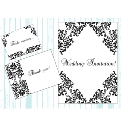 Vintage Damask Invitation card with ornaments vector image