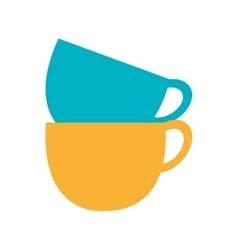 Blue and yellow cups set graphic vector