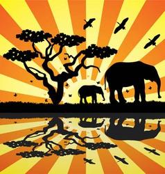 elephants birds and butterflies in africa vector image vector image