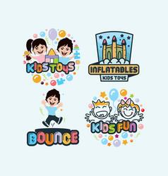 kids logo set vector image