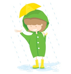 Little Girl In Rainy Day vector image