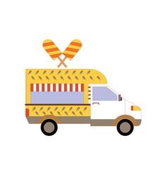 street ice cream truck food caravan ice cream vector image vector image