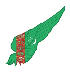 The Turkmenistan Flag on Abstract wing with white vector image