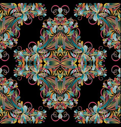 vintage floral colorful seamless pattern flourish vector image