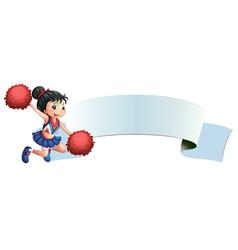A cheerleader beside an empty space vector