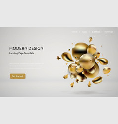 Abstract golden liquid background web design vector