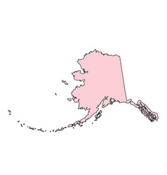 alaska map isolated on white background silhouette vector image