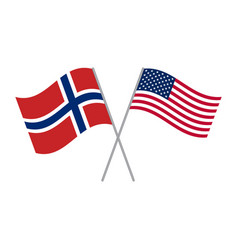 American and norwegian flags isolated on white vector