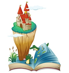 An open book with an image of a castle in an vector