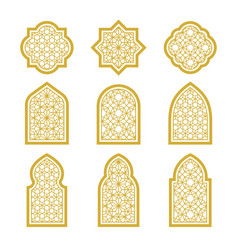 Arabic ornamental windows set vector
