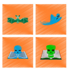 assembly flat shading style icon bat ghost book vector image