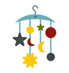Baby bed carousel icon flat style vector image