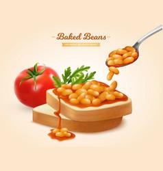 Baked beans sandwich vector