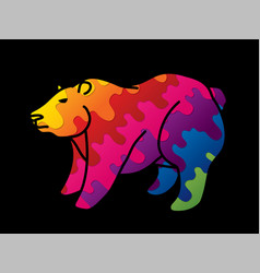 big bear standing cartoon graphic vector image