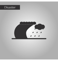 Black and white style icon tsunami storm vector
