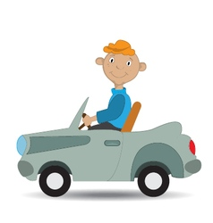 boy rides in the car vector image