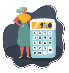 business woman standing near big calculator vector image
