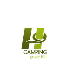 camping grove hill sign vector image